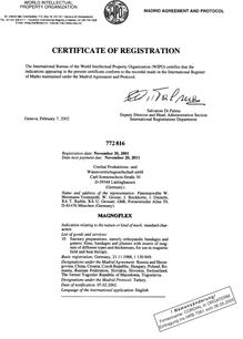 Certificate of Registration EU Magnoflex